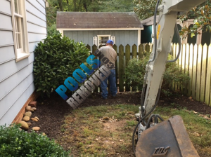 To remove the vinyl swimming pool, the shed had to go.
