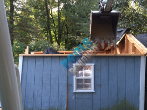 In less than 15 minutes the skilled operator had the shed laying in pieces