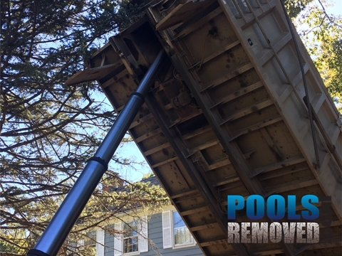 Pool Removal Dump Truck in Action- Fill in Pool Services in Maryland