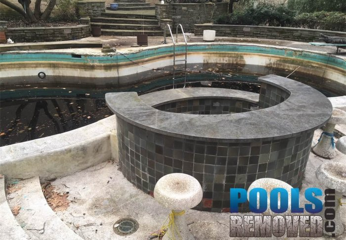 Old In-Ground Pool- North Bethesda Maryland Swimming Pool Removal